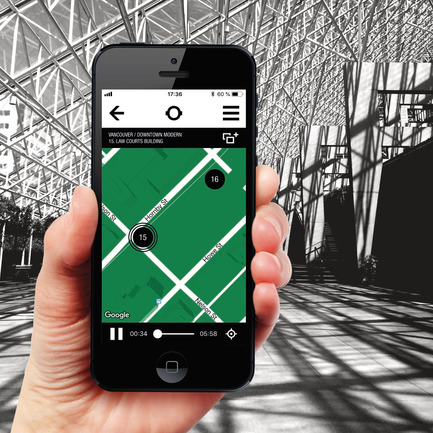 Press kit | 2390-01 - Press release | Portrait Sonore Launches its Free Application on Art, History and Architecture - Portrait Sonore - Multimedia Design - Screenshot of Portrait Sonore's App with interior view of the Law Courts building, leading to Robson Square. Vancouver. - Photo credit: © Portrait Sonore, 2018