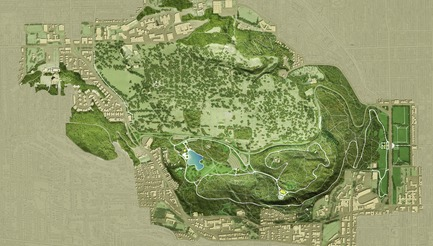 Press kit | 2366-03 - Press release | Le projet montréalais Escales découvertes se distingue à l'international - civiliti avec Julie Margot design - Architecture de paysage - Carte du Site patrimonial du Mont-Royal d'une superficie de 1850 acres. Outre le parc conçu par Olmsted, le site possède 3 sommets, 5 cimetières et 2 campus universitaires. Quelques hôpitaux importants se trouvent également à proximité.<br> - Photo credit: civiliti
