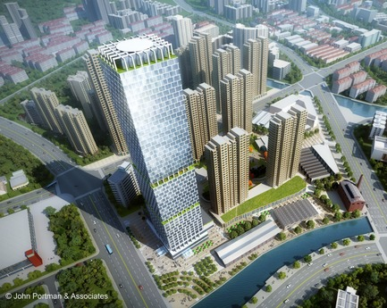 Dossier de presse | 3258-03 - Communiqué de presse | John Portman & Associates Unveils Design for Super Tall Tower in Wuxi, China - John Portman & Associates - Concours - Crédit photo : John Portman & Associates