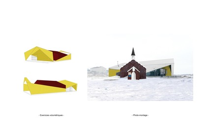 Dossier de presse | 3256-01 - Communiqué de presse | Nunavik's New Cultural Centre Opens Its Doors - Blouin Orzes architectes - Institutional Architecture - Volumetric studies and collage including historic church<br> - Crédit photo : Blouin Orzes architectes