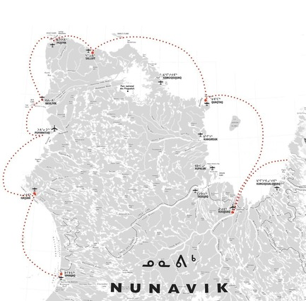 Dossier de presse | 3256-01 - Communiqué de presse | Nunavik's New Cultural Centre Opens Its Doors - Blouin Orzes architectes - Institutional Architecture - Map of Nunavik showing delivery route along Northern coasts<br> - Crédit photo : Blouin Orzes architectes