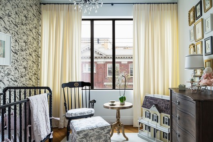 "Press kit | 2185-04 - Press release | Home in Little Italy - Audax - Residential Interior Design -  Modern take on a Victorian nursery for baby girl with subdued yellows and ebony furniture<p class=""MsoNormal""></p> - Photo credit: Erik Rotter"