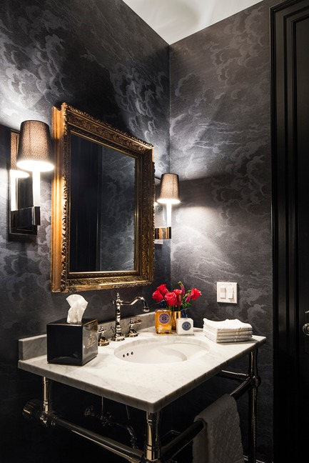 "Press kit | 2185-04 - Press release | Home in Little Italy - Audax - Residential Interior Design - Powder room with fornasetti wallpaper<p class=""MsoNormal""></p> - Photo credit: Erik Rotter"