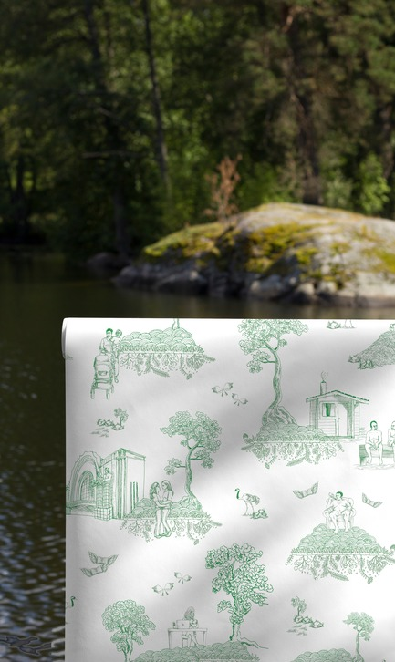 Dossier de presse | 3279-03 - Communiqué de presse | New Finnish Wallpaper Offers Trump And Putin 10 Tips to Fix The World - FEATHR - Residential Interior Design - Finland Toile wallpaper in Green is Good - Crédit photo : FEATHR