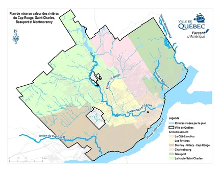 Press kit | 2647-03 - Press release | Call for tenders by City of Québec for the Cap Rouge, Saint-Charles, Beauport and Montmorency rivers - City of Quebec - Landscape Architecture - Rivers covered by the Masterplan - Photo credit: City of Quebec
