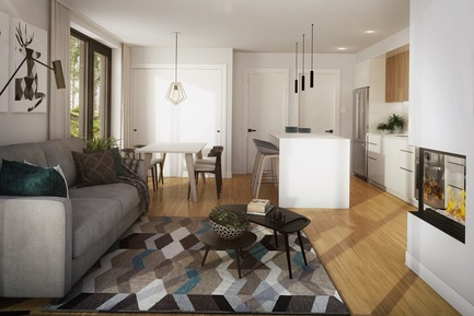Press kit | 1867-04 - Press release | Lancement d'Arborescence, un nouveau projet de condos-refuges à Bromont - KnightsBridge - Residential Architecture - Living room with fireplace - 1-bedroom unit - Photo credit: KnightsBridge