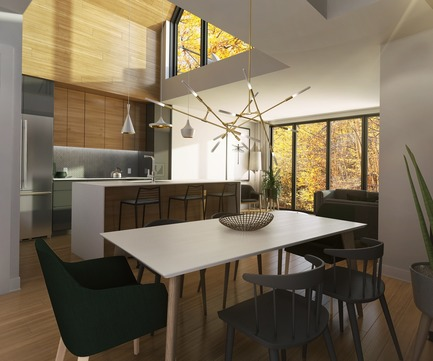Press kit | 1867-04 - Press release | Official Launch of Arborescence, a New Mountain Condo Development in Bromont - KnightsBridge - Residential Architecture - Penthouse kitchen - Photo credit: KnightsBridge