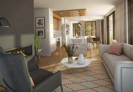 Press kit | 1867-04 - Press release | Lancement d'Arborescence, un nouveau projet de condos-refuges à Bromont - KnightsBridge - Residential Architecture - Living room with fireplace - 2-bedroom unit - Photo credit: KnightsBridge
