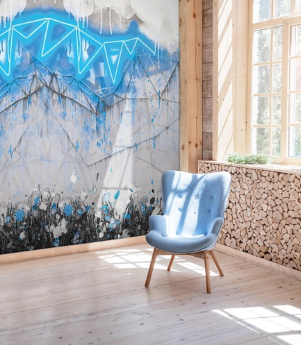 Dossier de presse | 3279-04 - Communiqué de presse | FEATHR & Artist Lee Herring Collaborate On New Wallpaper Collection - FEATHR - Design d'intérieur résidentiel -  Neon Bunting in Electric Blue  - Crédit photo : Ievgeniia Pidgorna/Alamy/Lee Herring
