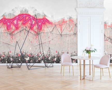 "Dossier de presse | 3279-04 - Communiqué de presse | FEATHR & Artist Lee Herring Collaborate On New Wallpaper Collection - FEATHR - Design d'intérieur résidentiel - Neon Bunting in Soho Pink - Crédit photo : <br class="""">PinkyWinky/Shutterstock/Lee Herring<br><br>"
