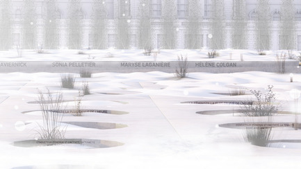 Press kit | 865-34 - Press release | Un geste grandiose procure une grande victoire à Lemay + Angela Silver + SNC-Lavalin - Lemay - Urban Design -  Architectural objects of memory - Flowery meadow - Winter - Photo credit: Lemay