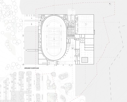 Press kit | 1018-07 - Press release | Metaform and Mecanoo Win the International Competition to Design the First Velodrome in Luxembourg - Metaform architects - Competition - Ground Floor Plan - Photo credit: Metaform