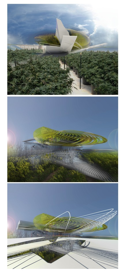 Dossier de presse | 2121-10 - Communiqué de presse | Sustainable Hemp and Medical Cannabis Farm - Margot Krasojević Architecture - Industrial Architecture - Exterior harvesting landscape - Crédit photo : Margot Krasojević