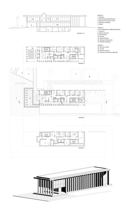Press kit | 1172-07 - Press release | Rigaud City Hall - Affleck de la Riva architects - Institutional Architecture - Hôtel de ville de Rigaud - plans - Photo credit: Affleck de la Riva, architectes