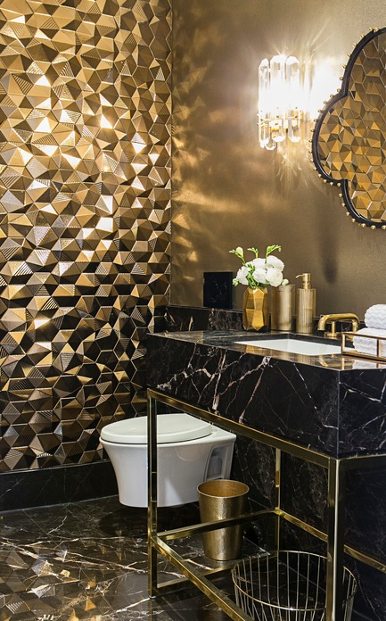 Press kit | 2185-06 - Press release | La Dolce Vita - Audax - Residential Interior Design - Powder Room: Gold Umbrella Hex wall tile with Noir Saint-Laurent custom vanity and brass plumbing fixtures. - Photo credit: Erik Rotter