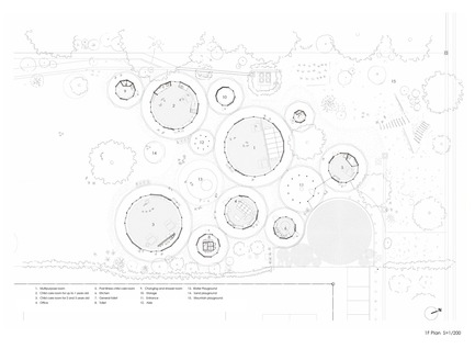 Press kit | 3544-04 - Press release | Muku Nursery School - Tezuka Architects - Commercial Architecture - Ground Floor Plan S:1/200 - Photo credit:  Tezuka Architects<br>
