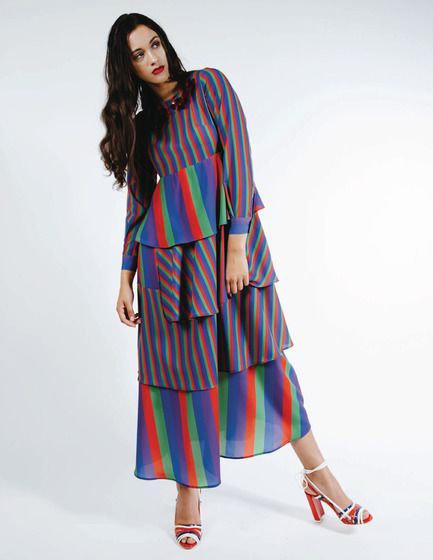 Press kit | 3867-01 - Press release | Sarah Donofrio to Debut New Accessory Collection - One Imaginary Girl - Fashion Design - Rainbow Stripe maxi dress - Photo credit: Myles Katherine