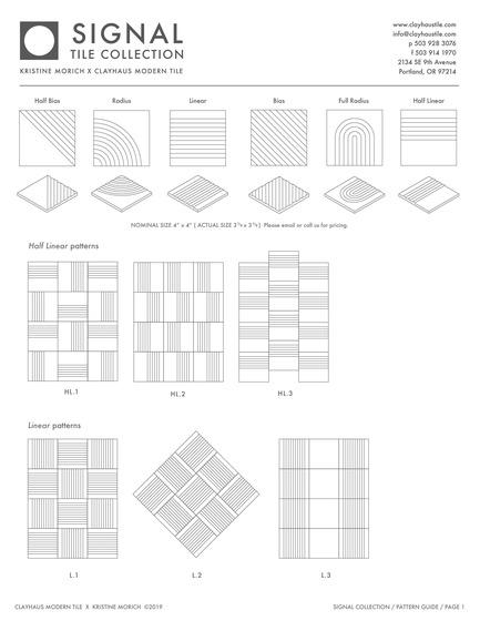 Dossier de presse | 3895-01 - Communiqué de presse | Signal Tile - Kristine Morich X Clayhaus Modern Tile - Produit -  Signal Tile | Kristine Morich X Clayhaus Modern Tile | Pattern Guide 01  - Crédit photo : Kristine Morich