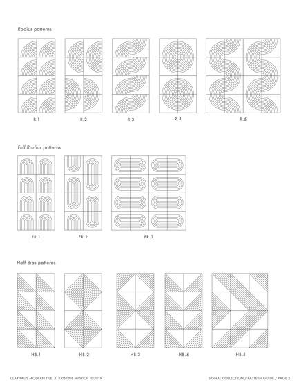 Dossier de presse | 3895-01 - Communiqué de presse | Signal Tile - Kristine Morich X Clayhaus Modern Tile - Produit -  Signal Tile | Kristine Morich X Clayhaus Modern Tile | Pattern Guide 02 - Crédit photo : Kristine Morich