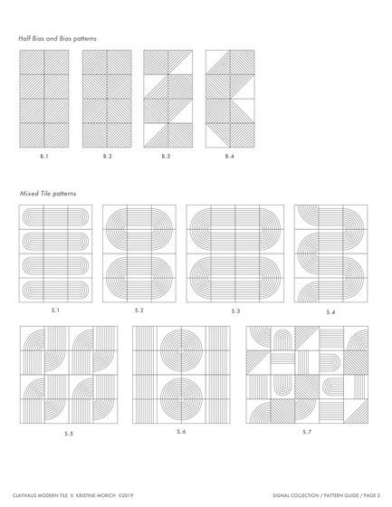 Dossier de presse | 3895-01 - Communiqué de presse | Signal Tile - Kristine Morich X Clayhaus Modern Tile - Produit -  Signal Tile | Kristine Morich X Clayhaus Modern Tile | Pattern Guide 03 - Crédit photo : Kristine Morich