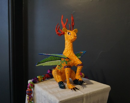 Press kit | 1607-08 - Press release | DesignTO is Where Art & Design Meet this January! - DesignTO - Event + Exhibition - One Who Protects a Sibling at BAND GALLERY - Emily's Alebrije by Renée LoGo for Emily Kewageshig - Photo credit:  Michael Madjus