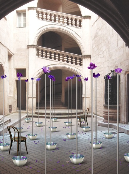 Dossier de presse | 982-43 - Communiqué de presse | Festival des Architectures Vives 2019: Teams and Projects - Association Champ Libre - Event + Exhibition - Kuma & Elsa, Installation : Cour d'eau et de fleurs - Crédit photo : Kuma & Elsa