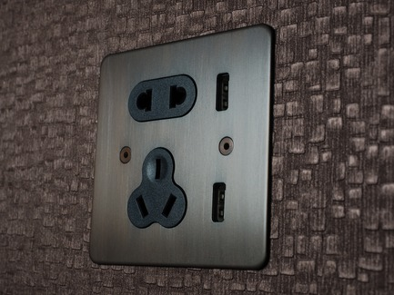 Press kit | 2651-01 - Press release | New Wall Display is Added to One of Focus SB's Five New Showrooms, Beijing - Focus SB Ltd - Commercial Interior Design - USB socket finished in Bronze, Focus SB China collection.<br> - Photo credit: Copyright Focus SB.<br>