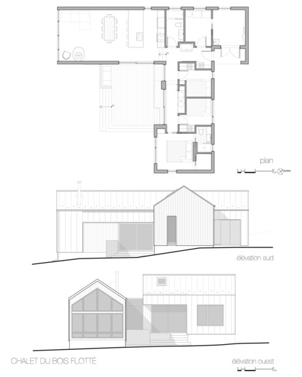 Press kit | 1678-04 - Press release | Chalet du Bois Flotté - BOOM TOWN - Residential Architecture - Plan & Elevations - Photo credit: atelier BOOM-TOWN