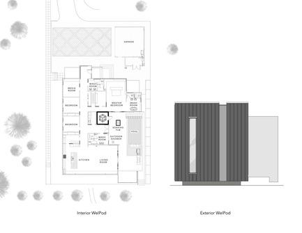 Dossier de presse | 2000-01 - Communiqué de presse | The WelPod - Circle Wellness Studios - Lifestyle - Floor Plan and elevation - Crédit photo : Paul Hennessey