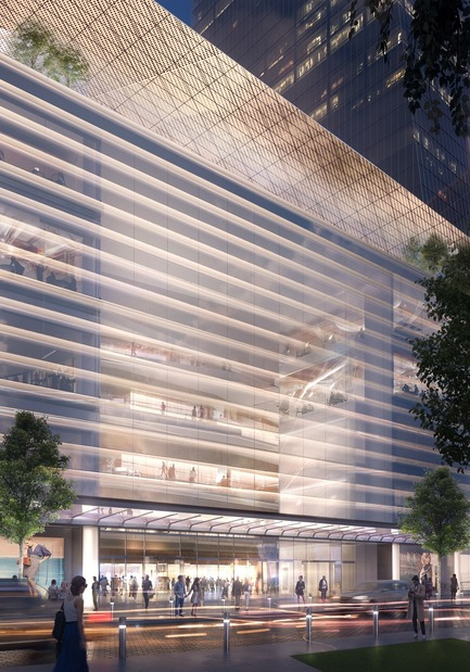 Dossier de presse | 3242-03 - Communiqué de presse | West Podium Art Wall opens - James Carpenter Design Associates - Commercial Architecture - Rendering of one section of the 300 ft long Podium Art Wall<br> - Crédit photo : James Carpenter Design Associates<br>