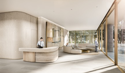 Dossier de presse | 907-06 - Communiqué de presse | La Clara Groundbreaking - Hariri Pontarini Architects - Residential Architecture - Lobby - Crédit photo : Hariri Pontarini Architects