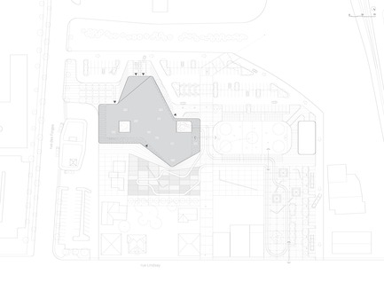 Press kit | 721-09 - Press release | Drummondville Public Library - Chevalier Morales / Stephan Chevalier, Sergio Morales + DMA architects - Institutional Architecture - Site Plan - Photo credit: Chevalier Morales