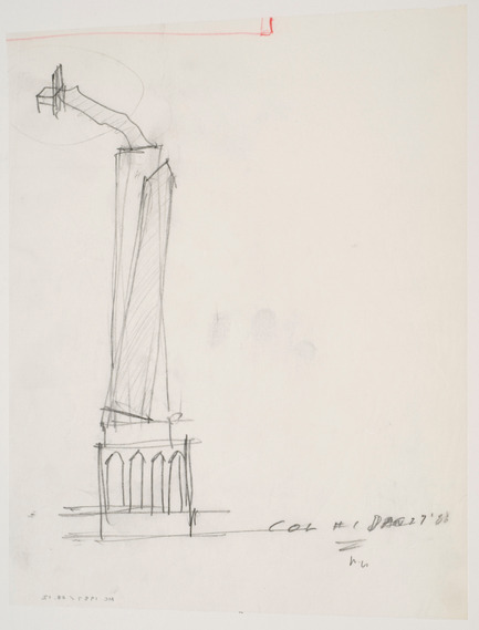 Dossier de presse | 756-05 - Communiqué de presse | The CCA honors the memory of Melvin Charney, 1935-2012 - Canadian Centre for Architecture (CCA) - Event + Exhibition - Melvin CharneyCCA Garden, Study drawing /Dessin d'étude, jardin du CCA1988graphite on tracing paper with red coloured pencil / mine de plomb sur papier calque avec crayon de couleur rouge28,9 x 21,6 cmDR2007:0084:015:007Collection CCA/CCA CollectionDon de Melvin Charney/Gift of Melvin Charney© Melvin Charney / SODRAC 2012