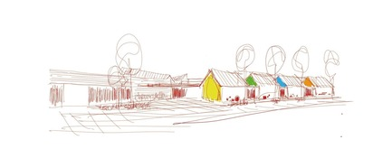 Dossier de presse | 1456-03 - Communiqué de presse | Rockford Public Schools K-5 Prototype School: Architecture as Community - CannonDesign - Architecture institutionnelle - Concept sketch of village design, indicating color and form for the kindergarten learning commons. - Crédit photo : Robert Benson