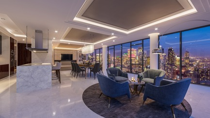 Press kit | 1867-06 - Press release | Official launch of the 1111 Atwater penthouses - Groupe EMD Construction – Batimo - Real Estate - Interior view of a penthouse - Photo credit: gvm3d