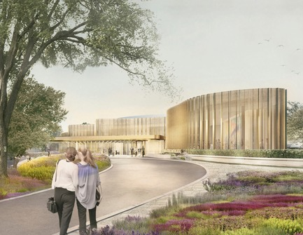 Dossier de presse | 907-08 - Communiqué de presse | Topping-Off Ceremony at the Tom Patterson Theatre for the Stratford Festival - Hariri Pontarini Architects - Évènement + Exposition - Theatre Entrance Rendering - Crédit photo : Hariri Pontarini Architects