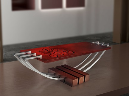 "Press kit | 3917-03 - Press release | FORMITABLE©Collection - Wael Farran Studio - Product - <p style="""">                AL KHAYAL - COFFEE TABLE <br>Teak veneer logs with three half curved structural stainless steel form a base for hand-painted arabesque calligraphy. <br>PIECE DIMENSIONS: W: 170cm H: 46cm D: 50cm </p> - Photo credit:                GENIA MAALOUF"