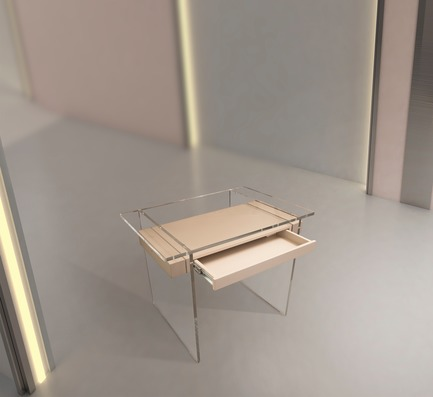 """Press kit   3917-03 - Press release   FORMITABLE©Collection - Wael Farran Studio - Product - <p style=""""""""> CASPER - CUSTOM MADE <br>Deco inspired desk made out of Plexiglas and lacquered wood. <br>PIECE DIMENSIONS: W: 70cm L: 120cm H: 75cm </p> - Photo credit: WAEL KHOURY PHOTOGRAPHY"""