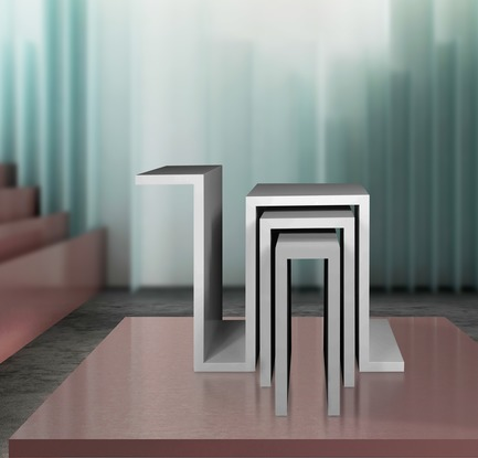 Dossier de presse | 3917-03 - Communiqué de presse | FORMITABLE©Collection - Wael Farran Studio - Produit -  CITYSCAPE -  SIDE TABLE <br>Cityscape multifunction set of side tables is a variation of glossy and matt lacquered finish.<br>PIECE DIMENSIONS: W: 80cm D: 50cm H: 60cm  - Crédit photo : GENIA MAALOUF