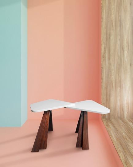 Dossier de presse | 3917-03 - Communiqué de presse | FORMITABLE©Collection - Wael Farran Studio - Produit -  COQUETTE -                SIDE TABLE <br>A side table made out of acid wash Koto veneer top and walnut solid wood legs. <br>              PIECE DIMENSIONS: H: 42 W: 50 L: 81<br>   - Crédit photo :                WAEL KHOURY PHOTOGRAPHY