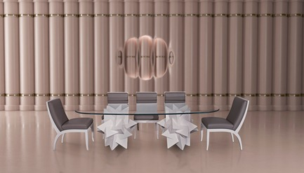 "Press kit | 3917-03 - Press release | FORMITABLE©Collection - Wael Farran Studio - Product -  PAPER WEIGHT -                DINING TABLE <p class="""" style="""">As life happens, we sometimes feel things are escaping us, running away from our attention, like a pile of paper in the wind. In comes the paperweight, blocking any escape in the breeze. It grounds us, reminds us of the true substance, of what matters. Paperweight, is a call to stay to attentive to the essentials of life and a reminder to always be grateful. Two 3D elements serve as a sculptural base for this dining table. The top, a 2cm crystal clear glass, brings back your attention to the essentials i.e. the base, made of white lacquered wood. Complementing the table, are a set of (10 Chairs), with wooden white lacquered legs and grey genuine leather padding. <br>PIECE DIMENSIONS: GLASS TOP: W: 130cm L: 260cm THICKNESS: 2cm – BASE: W: 74cm H: 73cm (x2)</p>  - Photo credit:                WAEL KHOURY PHOTOGRAPHY"