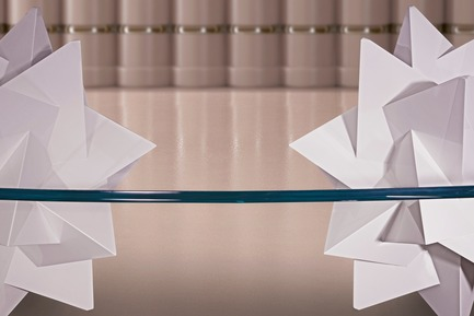 "Press kit | 3917-03 - Press release | FORMITABLE©Collection - Wael Farran Studio - Product -  PAPER WEIGHT -  DINING TABLE<p class="""" style="""">As life happens, we sometimes feel things are escaping us, running away from our attention, like a pile of paper in the wind. In comes the paperweight, blocking any escape in the breeze. It grounds us, reminds us of the true substance, of what matters. Paperweight, is a call to stay to attentive to the essentials of life and a reminder to always be grateful. Two 3D elements serve as a sculptural base for this dining table. The top, a 2cm crystal clear glass, brings back your attention to the essentials i.e. the base, made of white lacquered wood. Complementing the table, are a set of (10 Chairs), with wooden white lacquered legs and grey genuine leather padding. <br>PIECE DIMENSIONS: GLASS TOP: W: 130cm L: 260cm THICKNESS: 2cm – BASE: W: 74cm H: 73cm (x2) </p> - Photo credit:                WAEL KHOURY PHOTOGRAPHY"