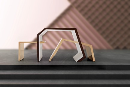 Press kit | 3917-03 - Press release | FORMITABLE©Collection - Wael Farran Studio - Product -  PARADOX -  COFFEE TABLE <br> Life and death. Positive and negative. Night and day. Humans are walking paradoxes. Torn between two equal forces: the positive and the negative. What would you choose? To which side would you go? This center table is made of new wood banana matt veneer and brass. It features an elevated center and two sides, one of which is slanted while the other is straight. <br>PIECE DIMENSIONS: W: 105 cm D: 60 cm H: 45 cm.  - Photo credit: WAEL KHOURY PHOTOGRAPHY