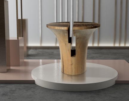 Press kit | 3917-03 - Press release | FORMITABLE©Collection - Wael Farran Studio - Product -  RUMBA -                SIDE TABLE <br>Four pieces hand carved solid frake wood form together a side table with silver powdered finish. <br>PIECE DIMENSIONS: D: 57cm H: 54cm  - Photo credit:                GENIA MAALOUF