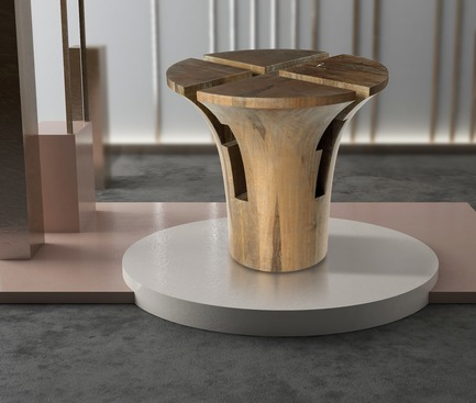 Dossier de presse | 3917-03 - Communiqué de presse | FORMITABLE©Collection - Wael Farran Studio - Produit -  RUMBA - SIDE TABLE <br>Four pieces hand carved solid frake wood form together a side table with silver powdered finish. <br>PIECE DIMENSIONS: D: 57cm H: 54cm  - Crédit photo : GENIA MAALOUF