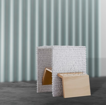"Press kit | 3917-03 - Press release | FORMITABLE©Collection - Wael Farran Studio - Product -  TRUST -  SIDE TABLE <p class="""" style="""">Trust is the glue of life. It's the most essential ingredient in human relations. It's the foundational principle that holds all relationships. Trust makes us vulnerable, yet without trust we can't find love or joy in relationships. This side table is represented in a massif Carrara marble, hand-carved with a twisted brass form. The two tables trust each other. ""You can lean on me,"" says one to the other. <br>PIECE DIMENSIONS: W: 40cm L: 55cm H: 50cm </p> - Photo credit: WAEL KHOURY PHOTOGRAPHY"