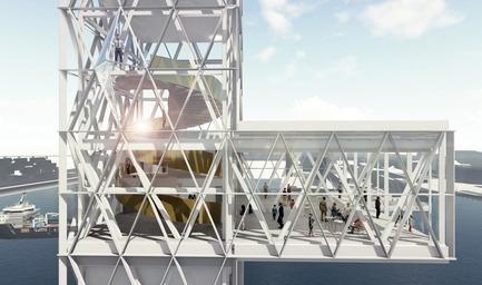 Dossier de presse | 952-27 - Communiqué de presse | Grand Quai du Port de Montréal: un nouveau terminal de croisière et une promenade sur l'esplanade verte - Provencher_Roy - Design urbain - Tour d'observation (2021) - Crédit photo : Provencher_Roy