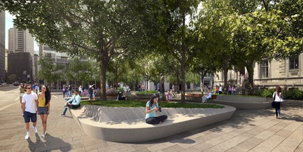 Press kit | 952-28 - Press release | Sainte-Catherine St. West, Phillips Square and Place du Frère-André: uniting past and present - Provencher_Roy - Urban Design - Place du Frère-André - Photo credit: Provencher_Roy