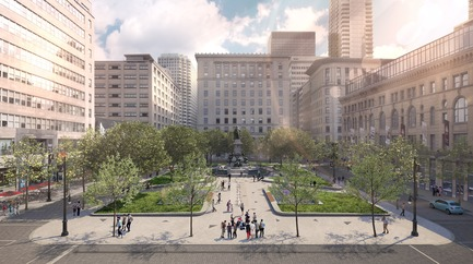 Press kit | 952-28 - Press release | Sainte-Catherine St. West, Phillips Square and Place du Frère-André: uniting past and present - Provencher_Roy - Urban Design - Square Philips from Sainte-Catherine St. West - Photo credit: Provencher_Roy