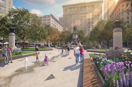 Press kit | 952-28 - Press release | Sainte-Catherine St. West, Phillips Square and Place du Frère-André: uniting past and present - Provencher_Roy - Urban Design - New water features in the Square Philips - Photo credit: Provencher_Roy